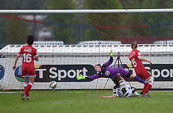Notts County Ladies FC's Rachel Williams gets the ball past Bristol Academy's Mary Earps to score a goal - Photo mandatory by-line: Paul Knight/JMP - Mobile: 07966 386802 - 25/04/2015 - SPORT - Football - Bristol - Stoke Gifford Stadium - Bristol Academy Women v Notts County Ladies FC - FA Women's Super League