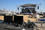 Outdoor music festival. The sound and lighting work station with the main stage in the background Photographed in Haifa, Israel