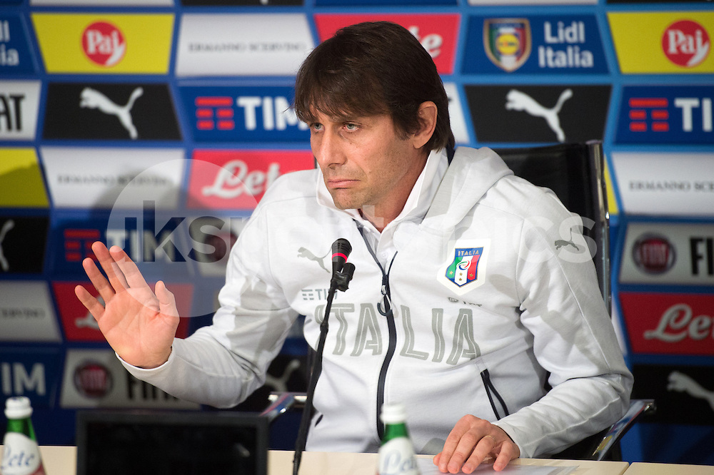Antonio Conte Head Coach of Italy during the Press Conference ahead the International Friendly Italy v Spain the Stadio Friuli, Udine, Italy on 21 March 2016. Photo by Massimo Paolone.