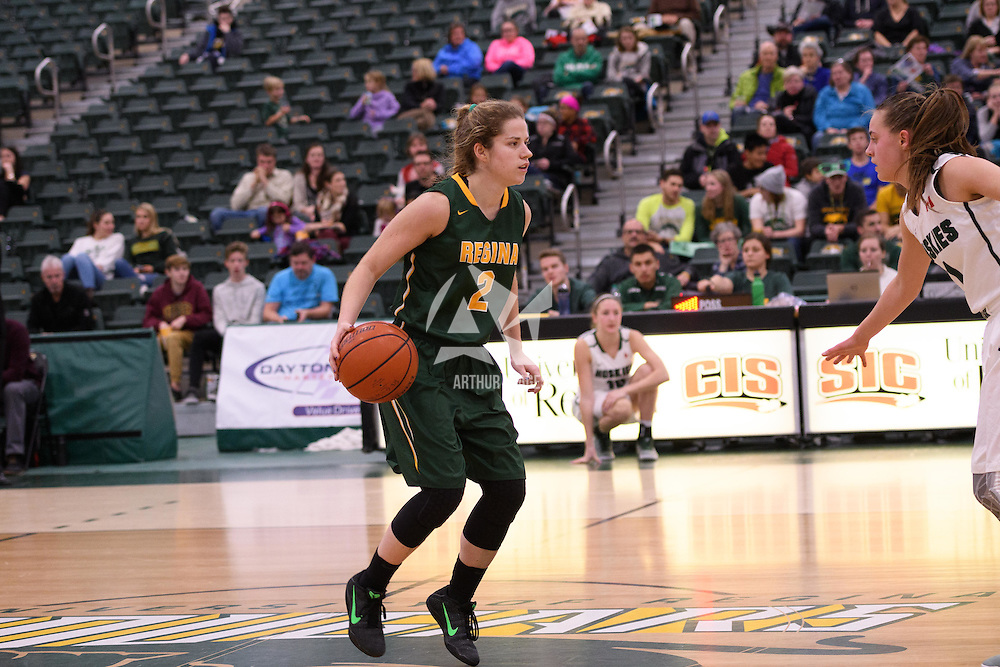 2nd year guard Michaela Kleisinger (2) of the Regina Cougars in action during the home game on December  3 at Centre for Kinesiology, Health and Sport. Credit: Matt Johnson/Arthur Images