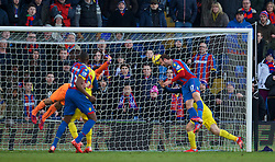 LONDON, ENGLAND - Saturday, February 21, 2015: Crystal Palace's Glenn Murray sees his injury time header hit the Arsenal post during the Premier League match at Selhurst Park. (Pic by David Rawcliffe/Propaganda)