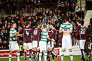 Celtic FC Forward Leigh Griffiths and Hearts FC Defender Callum Paterson getting heated during the Scottish League Cup presented by Ulilita Energy quarter final match between Heart of Midlothian and Celtic at Tynecastle Stadium, Gorgie, Scotland on 28 October 2015. Photo by Craig McAllister.