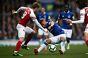Arsenal defender Nacho Monreal (18) and Everton forward Richarlison (30) during the Premier League match between Everton and Arsenal at Goodison Park, Liverpool, England on 7 April 2019.