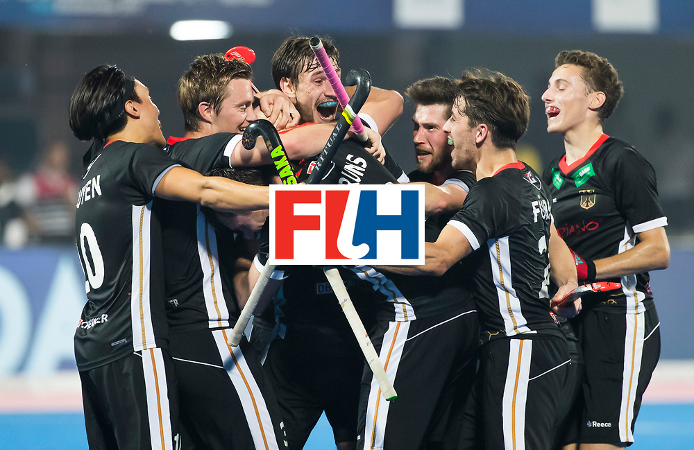 BHUBANESWAR - Hockey World League finals Match for bronze , Germany v India (1-2).  Mark Appel (Ger) scored . middle Florian Fuchs (Ger) and Niklas Bruns (Ger). COPYRIGHT KOEN SUYK