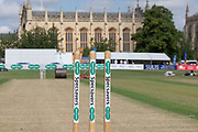 The pitch before the Specsavers County Champ Div 2 match between Gloucestershire County Cricket Club and Leicestershire County Cricket Club at the Cheltenham College Ground, Cheltenham, United Kingdom on 15 July 2019.