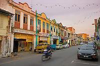 Colourful shops along the main street of Kuala Lipis, Malaysia..