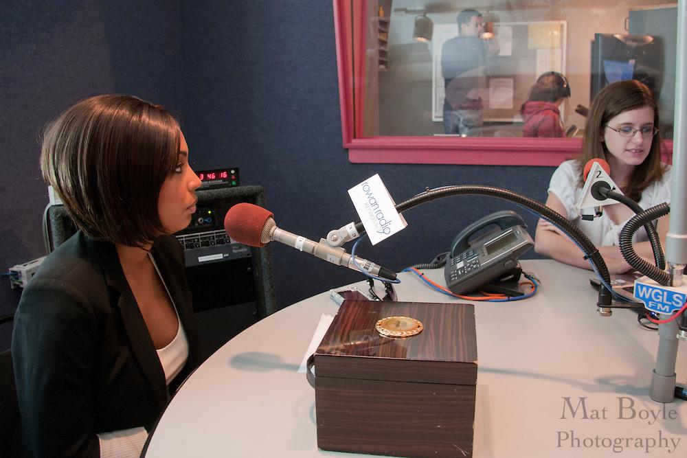 Miss America 2010 Caressa Cameron visits Rowan Radio WGLS on Septermber 21, 2010.