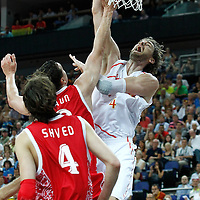 10 August 2012: Spain Pau Gasol dunks the ball during 67-59 Team Spain victory over Team Russia, during the men's basketball semi-finals, at the North Greenwich Arena, in London, Great Britain.