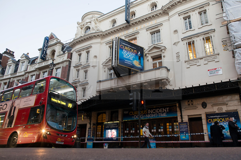 © Licensed to London News Pictures.20/11/2013. London, UK. General view of the Apollo Theatre . Seventy-sixpeople injured, seven seriously hurt after the roof of the Apollo collapsed yesterday, on the 19th of December.Photo credit : Peter Kollanyi/LNP