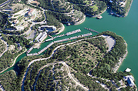 Aerial of boats at marina on Lake Travis, near Austin, Texas.