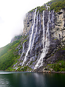 Norway, More og Romsdal, Geiranger fjord The seven sisters waterfall. UNESCO World Heritage Site.