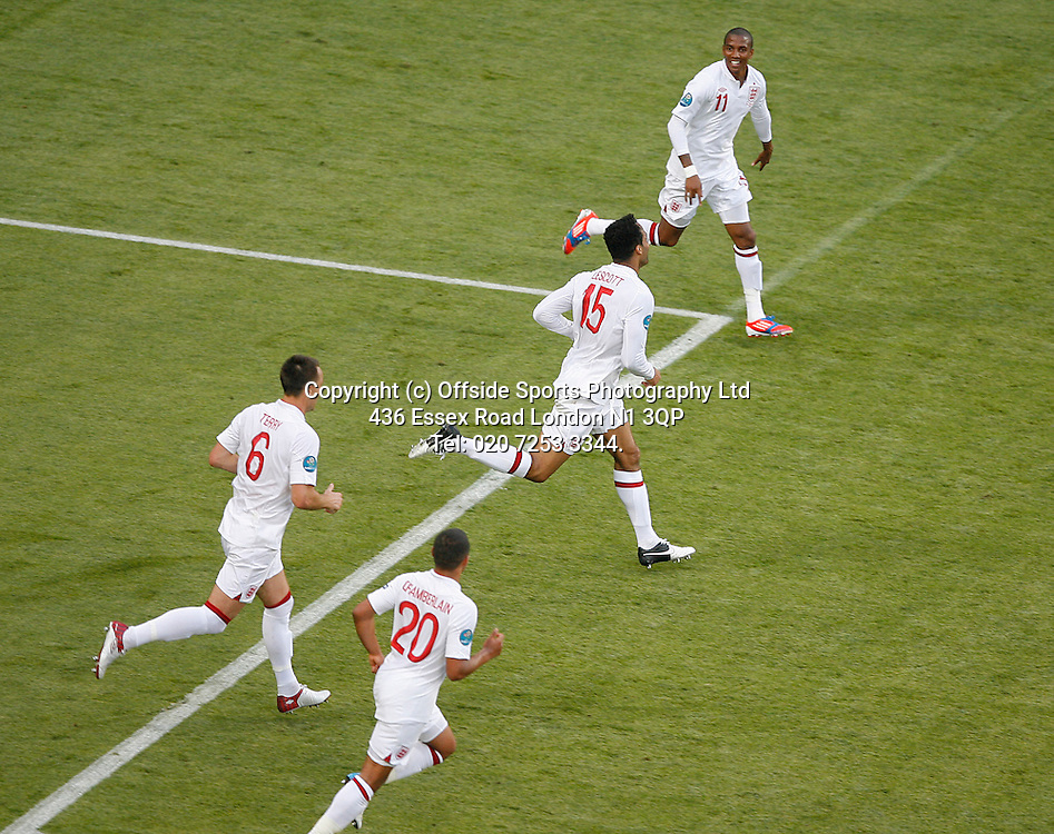 11/06/2012 European football championships. France v England.<br /> England celebrate goal by Joleon Lescott.<br /> Photo: Mark Leech.