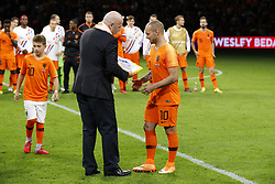 (L-R) president of FIFA Gianni Infantino, Wesley Sneijder of Holland during the International friendly match match between The Netherlands and Peru at the Johan Cruijff Arena on September 06, 2018 in Amsterdam, The Netherlands
