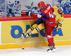 11.05.2012, Ericsson Globe, Stockholm, SWE, IIHF, Eishockey WM, Russland (RUS) vs Schweden (SWE), im Bild Russia 41 Nikolai Kulyomin (Toronto Maple Leaves) is closing the dor at the boards // during the IIHF Icehockey World Championship Game between Russia (RUS) and Sweden (SWE) at the Ericsson Globe, Stockholm, Sweden on 2012/05/11. EXPA Pictures © 2012, PhotoCredit: EXPA/ PicAgency Skycam/ Morten Christensen..***** ATTENTION - OUT OF SWE *****