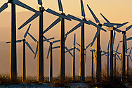 Array of Clean Energy Power generating windmills at wind farm at sunrise, Palm Springs, Riverside County, California