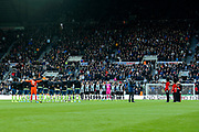Players from Newcastle United and AFC Bournemouth observe a minute of silence for Remembrance Day during the Premier League match between Newcastle United and Bournemouth at St. James's Park, Newcastle, England on 9 November 2019.
