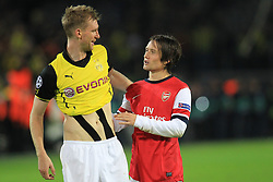 06.11.2013, Signal Iduna Park, Dortumd, GER, UEFA CL, Borussia Dortmund vs FC Arsenal, Gruppe F, im Bild Per Mertesacker #4 (Arsenal FC), Tomas Rosicky #7 (Arsenal FC) gluecklich nach dem 1:0 Sieg // UEFA Champions League group A match between Borussia Dortmund and Arsenal FC at the Signal Iduna Park in Dortumd, Germany on 2013/11/06. EXPA Pictures © 2013, PhotoCredit: EXPA/ Eibner-Pressefoto/ Schueler<br /> <br /> *****ATTENTION - OUT of GER*****