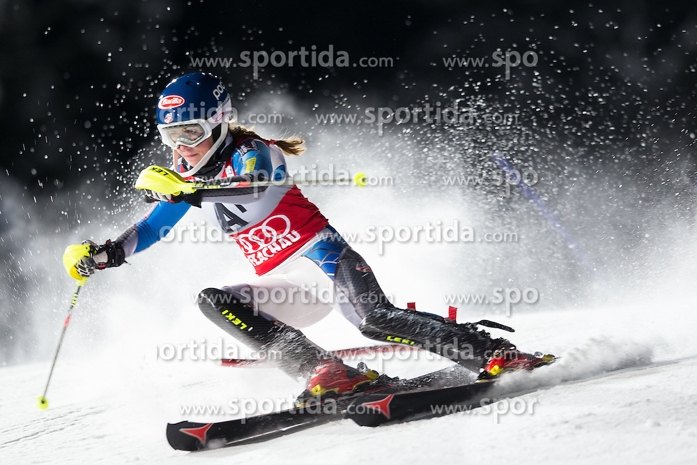 15.01.2013, Hermann Maier Weltcupstrecke, Flachau, AUT, FIS Weltcup Ski Alpin, Slalom, Damen, 1. Lauf, im Bild Mikaela Shiffrin (USA) // Mikaela Shiffrin of the USA in action during 1st run of the ladies Slalom of the FIS Ski Alpine World Cup at the Hermann Maier World Cup trackside, Flachau, Austria on 2013/01/15. EXPA Pictures © 2013, PhotoCredit: EXPA/ Johann Groder