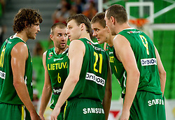 Players of Lithuania during friendly match before Eurobasket Lithuania 2011 between National teams of Slovenia and Lithuania, on August 24, 2011, in Arena Stozice, Ljubljana, Slovenia. Slovenia defeated Lithuania 88-66. (Photo by Vid Ponikvar / Sportida)