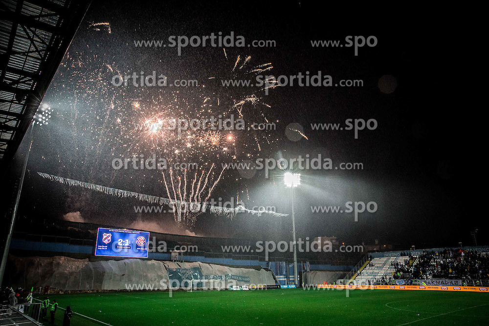 Fireworks after the football match between HNK Rijeka and HNK Hajduk Split in Round #15 of 1st HNL League 2016/17, on November 5, 2016 in Rujevica stadium, Rijeka, Croatia. Photo by Vid Ponikvar / Sportida