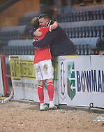 St Mirren&rsquo;s former Dee Gary Irvine hugs Dundee fan Gary Knight at the end - Dundee v St Mirren in the William Hill Scottish Cup at Dens Park, Dundee. Photo: David Young<br /> <br />  - &copy; David Young - www.davidyoungphoto.co.uk - email: davidyoungphoto@gmail.com