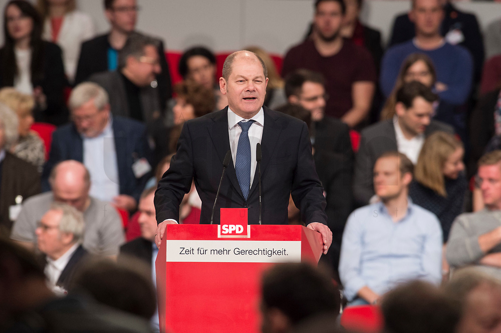 19 MAR 2017, BERLIN/GERMANY:<br /> Olaf Scholz, SPD, 1. Buergermeister Hamburg, haelt eine Rede, a.o. Bundesparteitag, Arena Berlin<br /> IMAGE: 20170319-01-071<br /> KEYWORDS: party congress, social democratic party, speech