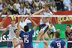 07.09.2014, Krakow Arena, Krakau, POL, FIVB WM, Italien vs USA, Gruppe D, im Bild MICACH CHRISTENSON // during the FIVB Volleyball Men's World Championships Pool D Match beween Italy and USA at the Krakow Arena in Krakau, Poland on 2014/09/07. <br /> <br /> ***NETHERLANDS ONLY***