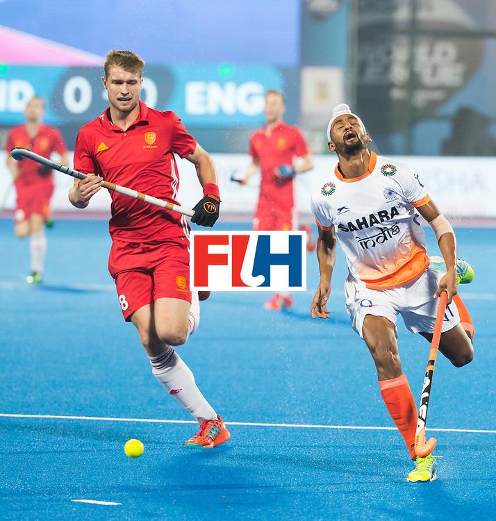 BHUBANESWAR - The Odisha Men's Hockey World League Final . Match ID 06 . India v England. Mandeep Singh (Ind) with Brendan Creed (Eng)    . WORLDSPORTPICS COPYRIGHT  KOEN SUYK