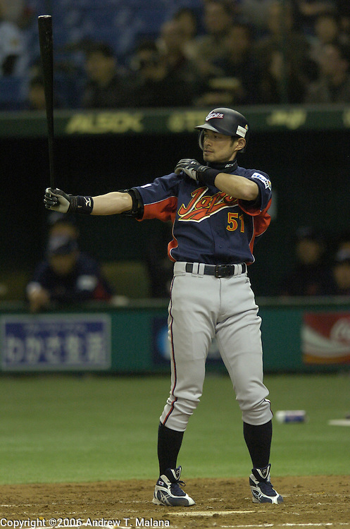 Team Japan Ichiro Suzuki at-bat against Team Chinese Taipei in the World Baseball Classic at Tokyo Dome, Tokyo, Japan.