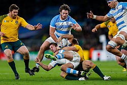 Argentina Winger Santiago Cordero is tackled by Australia Winger Drew Mitchell - Mandatory byline: Rogan Thomson/JMP - 07966 386802 - 25/10/2015 - RUGBY UNION - Twickenham Stadium - London, England - Argentina v Australia - Rugby World Cup 2015 Semi Finals.