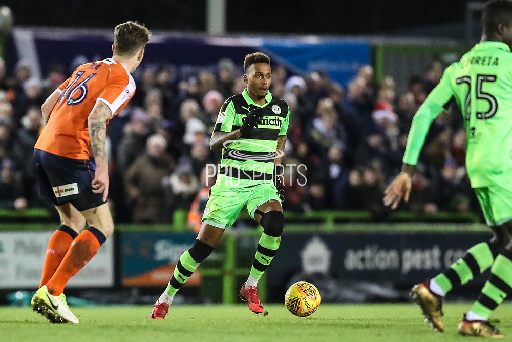 Forest Green Rovers Keanu Marsh-Brown(7) on the ball during the EFL Sky Bet League 2 match between Forest Green Rovers and Luton Town at the New Lawn, Forest Green, United Kingdom on 16 December 2017. Photo by Shane Healey.