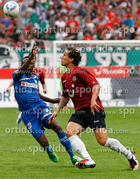 06.08.2011,AWD-Arena, Hannover, GER, 1.FBL, Hannover 96 vs TSG 1899 Hoffenheim, im Bild Chinedu Obasi (Hoffenheim #20) und Emanuel Pogatetz (Hannover #4).// during the match from GER, 2.FBL,  Hannover 96 vs TSG 1899 Hoffenheim on 2011/08/06, AWD-Arena, Hannover, Germany..EXPA Pictures © 2011, PhotoCredit: EXPA/ nph/  Schrader       ****** out of GER / CRO  / BEL ******