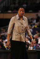 June 4, 2010; Phoenix, AZ, USA; Los Angeles Sparks head coach Jennifer Gillom reacts from the bench against the Phoenix Mercury during the first half at US Airways Center.  The Mercury defeated the Sparks 90-89.  Mandatory Credit: Jennifer Stewart-US PRESSWIRE