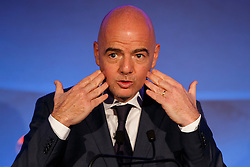 © Licensed to London News Pictures. 01/02/2016. London, UK. FIFA Presidential Candidate, Gianni Infantino unveils his 90 day plan that he will implement if he is elected FIFA President, at Wembley Stadium in London on Monday 1 February 2016. Photo credit: Tolga Akmen/LNP