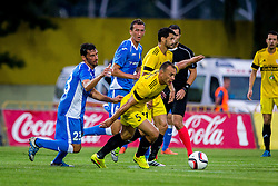 Mario Lucas Horvat of NK Domzale, Kenan Horic of NK Domzale and Aleksandr Yurevich of FC Shakhtyor Soligorsk during football match between FC Shakhtyor Soligorsk and NK Domzale in first leg match of Second Qualifying Round UEFA Europa league qualifications on July 14, 2016 in Soligorsk, Belarus. Photo by Ziga Zupan / Sportida