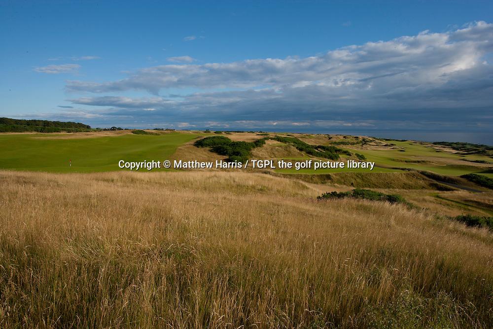 Left: 18th par 4,Right: 17th par 4 at Kingsbarns Golf Links during summer ,Kingsbarns,Fife,Scotland.