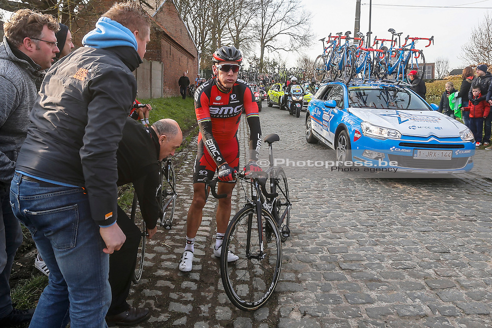 BELGIUM / GENT / GHENT / CYCLING / WIELRENNEN / CYCLISME / BELGIUM / KLASSIEKER / FLANDERS CLASSICS / GENT-GENT / 200,8 KM / OMLOOP HET NIEUWSBLAD / HAAGHOEK / VAL / CRASH/ CHUTE / GILBERT PHILIPPE (BMC RACING TEAM) / <br /> +++OUT OF CONTRACT+++PRIJS OP AANVRAAG+++PRICE ON DEMAND+++