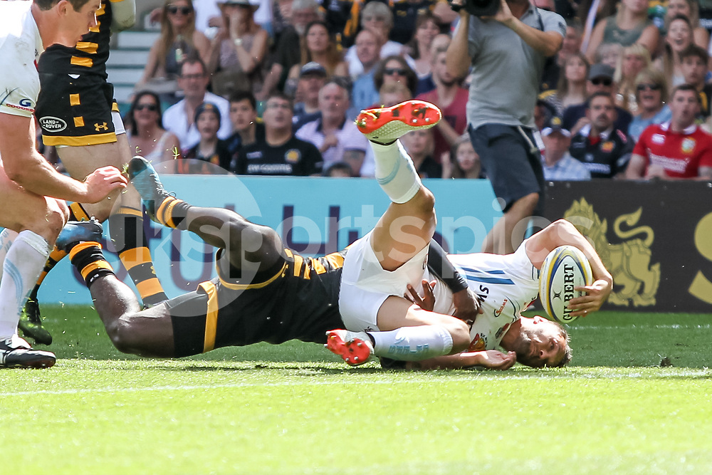 Phil Dollman of Exeter Chiefs scores the second try of the afternoon to make it 3-12 during the Aviva Premiership play-off Final between Wasps and Exeter Chiefs at Twickenham Stadium, Twickenham, United Kingdom on 27 May 2017. Photo by Ken Sparks.