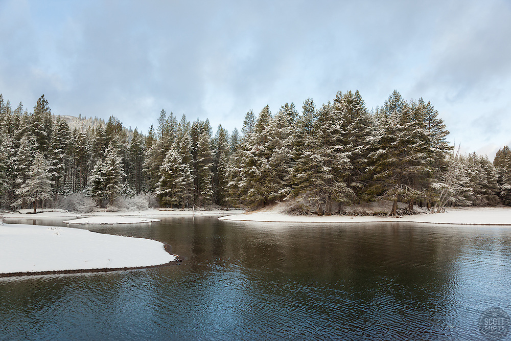 """""""Snowy Donner Lake 3"""" - This snowy shore line was photographed at the East shore of Donner Lake in the morning, right after a Spring snow shower."""