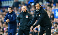 Wolverhampton Wanderers manager Nuno Espirito Santo (right) gestures on the touchline during the Premier League match at Goodison Park, Liverpool.