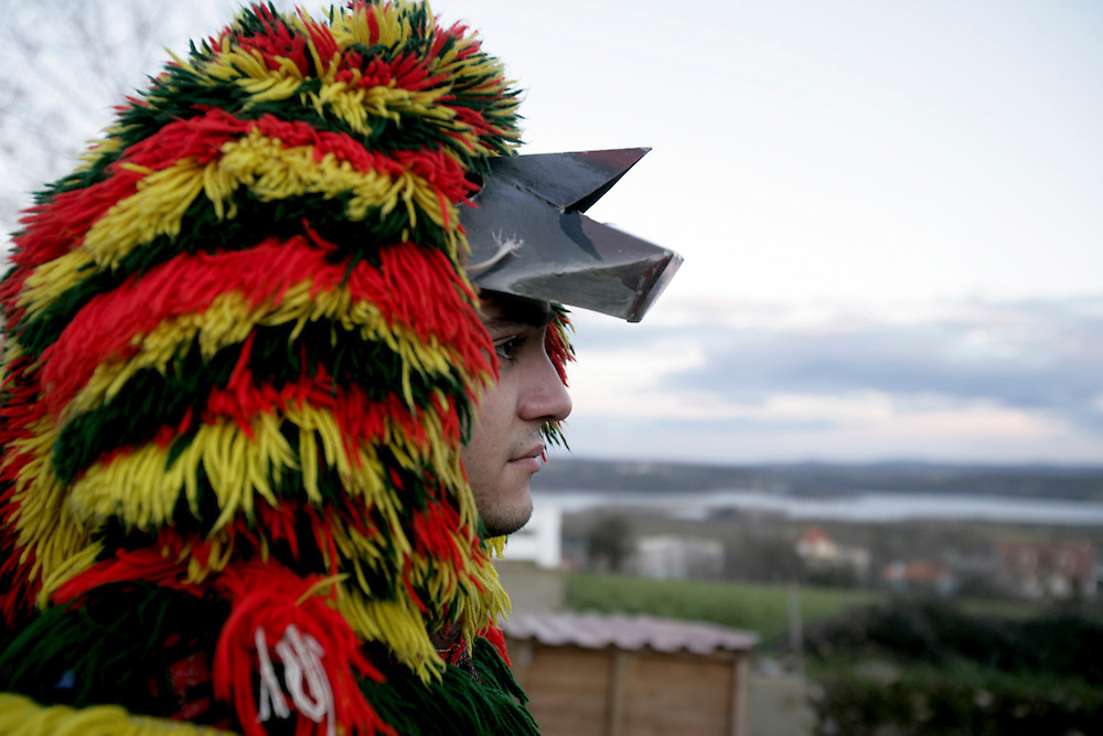"""One """"Careto"""" in Podence Carnival. Podence is a very small village in Northeast Portugal that  promotes its festivities as the """"most traditional ones"""" in the country. Men and boys wear a wool suit that was usually handcrafted by the owner when he was an adolescent and traditionally women were not allowed to participate."""