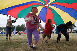 Group of children playing a parachute game at the Cropredy Festival  Fairport's Cropredy Convention  2005