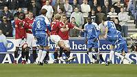 Photo: Aidan Ellis.<br /> Wigan Athletic v Manchester United. The Barclays Premiership. 14/10/2006.<br /> Wigan's  Leighton Baines scoresthe first