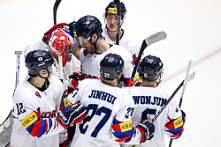 Players of Korea celebrate during ice hockey match between Hungary and Korea at IIHF World Championship DIV. I Group A Kazakhstan 2019, on April 29, 2019 in Barys Arena, Nur-Sultan, Kazakhstan. Photo by Matic Klansek Velej / Sportida