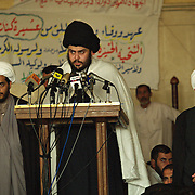 Moqtada al-Sadr leads Friday prayers in Kufa mosque, Kufa, Iraq on the 7th May 2004.