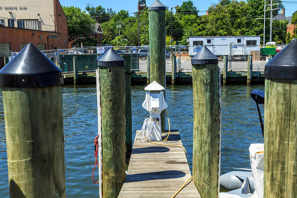 Annapolis, MD / USA - July 9, 2017: A hook up connection point on the docks near the downtown area of Maryland's capital city.