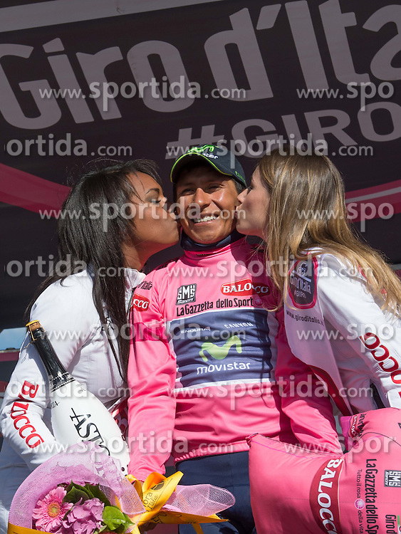 31.05.2014, Monte Zoncolan, ITA, Giro d Italia 2014, 20. Etappe, Maniago nach Monte Zoncolan, im Bild der Gesamtführende Nairo Quintana, COL (#121, Movistar Team) // race leader Nairo Quintana, COL (#121, Movistar Team) during Giro d' Italia 2014 at Stage 20 from Maniago to Monte Zoncolan, Italy on 2014/05/31. EXPA Pictures © 2014, PhotoCredit: EXPA/ R. Eisenbauer