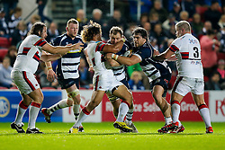 Bristol Rugby replacement Nick Koster is tackled by Doncaster Knights Flanker Latu Makaafi - Mandatory byline: Rogan Thomson/JMP - 06/11/2015 - RUGBY UNION - Ashton Gate Stadium - Bristol, England - Bristol Rugby v Doncaster Knights - Greene King IPA Championship.