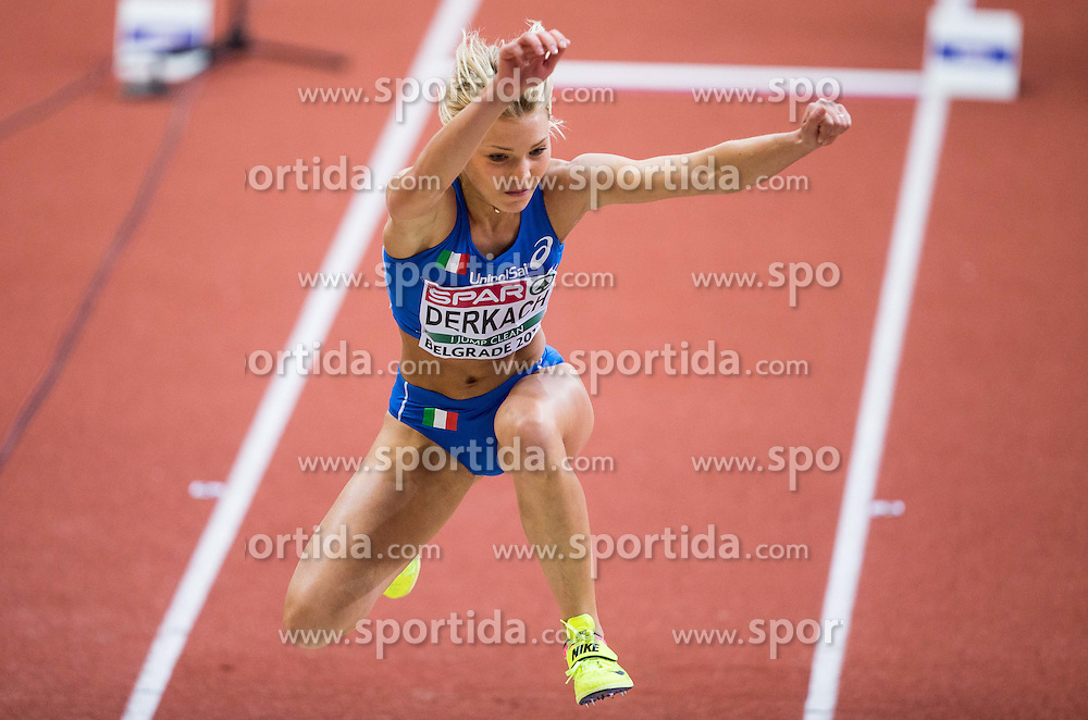 Dariya Derkach of Italy competes in the Triple Jump Women Qualification on day one of the 2017 European Athletics Indoor Championships at the Kombank Arena on March 3, 2017 in Belgrade, Serbia. Photo by Vid Ponikvar / Sportida