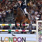 04.08.2018 The Longines Global Champions Tour Show jumping at The Royal Hospital Chelsea London UK Global Champions League of London for teams CS15 Competition in 2 phases and 2nd GCL Competition for Teams Harry Charles GBR riding Quantum Cruise
